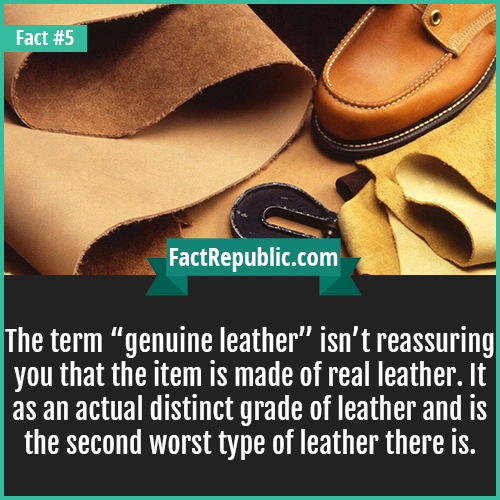 5. Genuine Leather-The term 'genuine leather' isn't reassuring you that the item is made of real leather. It as an actual distinct grade of leather and is the second worst type of leather there is.