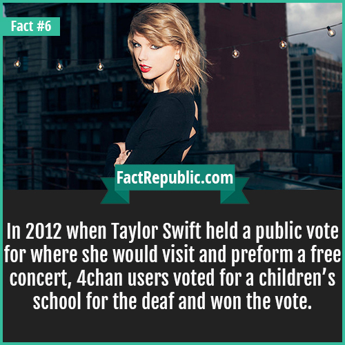 6. Taylor Swift-In 2012 when Taylor Swift held a public vote for where she would visit and preform a free concert, 4chan users voted for a children's school for the deaf and won the vote.
