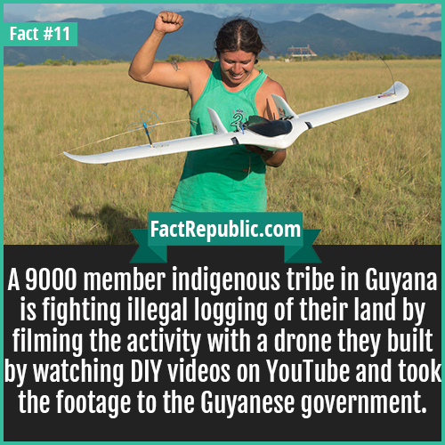 11. Guyana Drones-A 9000 member indigenous tribe in Guyana is fighting illegal logging of their land by filming the activity with a drone they built by watching DIY videos on YouTube and took the footage to the Guyanese government.
