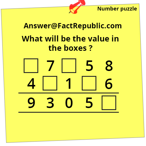Fact Republic Number Puzzle Answer. What will be the value in the boxes?
