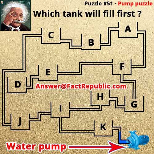 Puzzle 51- Pump Puzzle Answer, Which Tank Will Fill First, Pump Puzzle Answer