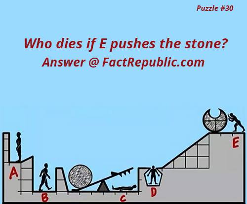 Puzzle #30. Who dies if E pushes the stone?