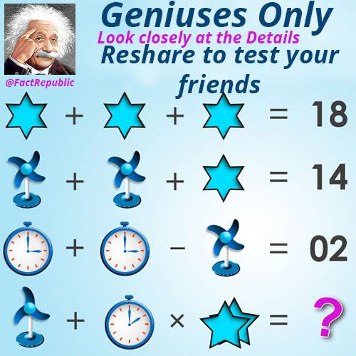 Geniuses only. Look closely at the details. Reshare to test your friends. Stars, fan and clock puzzle