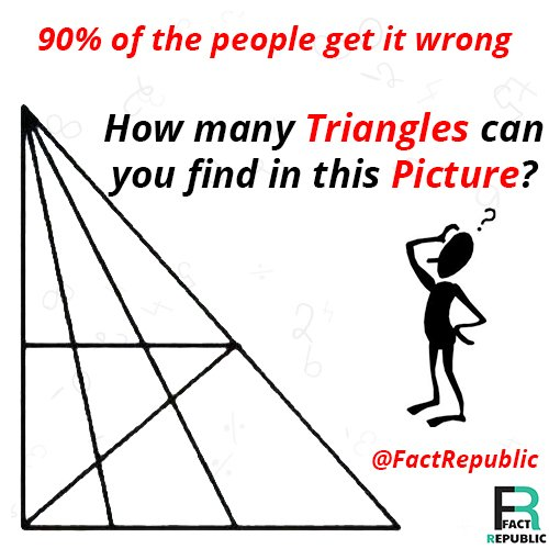 How many triangles? 90% of the people get it wrong. How many triangles can you find in this picture?