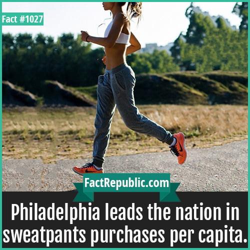 1027. Sweatpants Philadelphia-Philadelphia leads the nation in sweatpants purchases per capita.