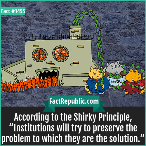 """1455. Shirky Principle-According to the Shirky Principle, """"Institutions will try to preserve the problem to which they are the solution."""""""